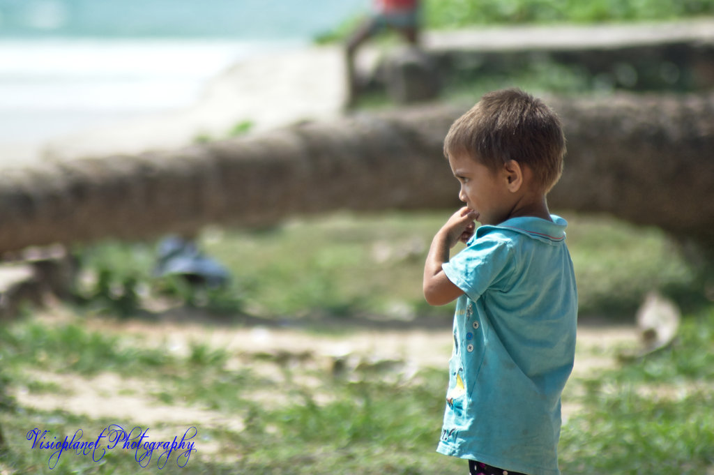 A child on a beach in Goa