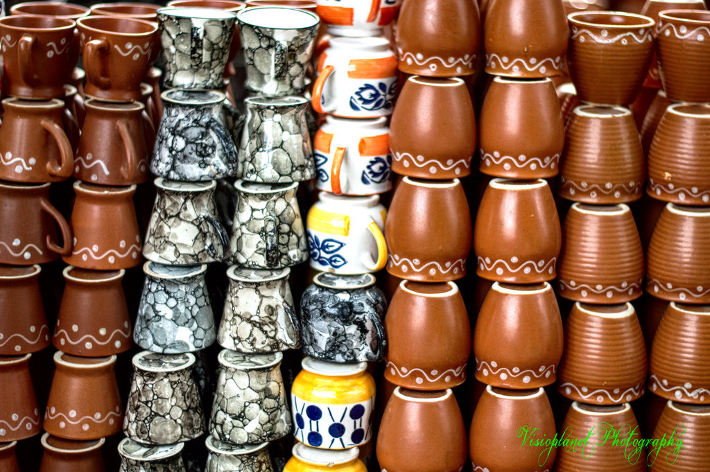 An assortment of cups at Shilparamam